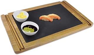 Wooden Board Sushi Serving Plate - Rectangular Japanese Sushi Serving Plate - Acacia Wood Platter Display/Cutting/Serving Tray Set - Slate Plate, 2 Ceramic Sauce Bowls, Chopstick - NutriChef PKSUSH10