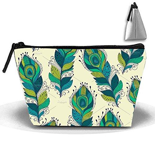 Bolsa de maquillaje portátil para mujer, color azul y plateado, para almacenamiento trapezoidal