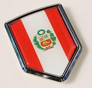 Car Chrome Decals CBSHD165 Peru Peruvian Flag Car Chrome Emblem 3D Decal Sticker