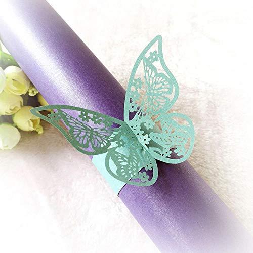 MDWBR 50pcs Schmetterling Stil Laser Cut Elfenbein Papier Serviettenringe Inhaber Party Hochzeit Gefälligkeiten Tischdekoration, blau