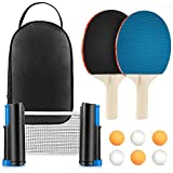 Fostoy Ping Pong Paddle, Ping Pong Paddles Set with 2 Ping Pong Paddles and 6 Table Tennis Balls, Retractable...