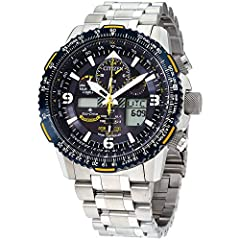 Eco-Drive technology – powered by light, any light. Never needs a battery.  Stainless steel bracelet with fold-over clasp and double, push-button release.  Atomic, synchronized time-keeping in over 43 different cities.  Chronograph-functionality at 1...