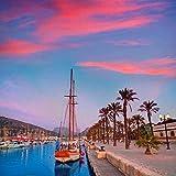 SHILIHOME Cartagena Murcia Port Pier Sunrise España DIY 5D Pintura de Diamante por número Kits únicos Decoración de la Pared del hogar Cristal Rhinestone Decoración de la Pared Punto de Cruz