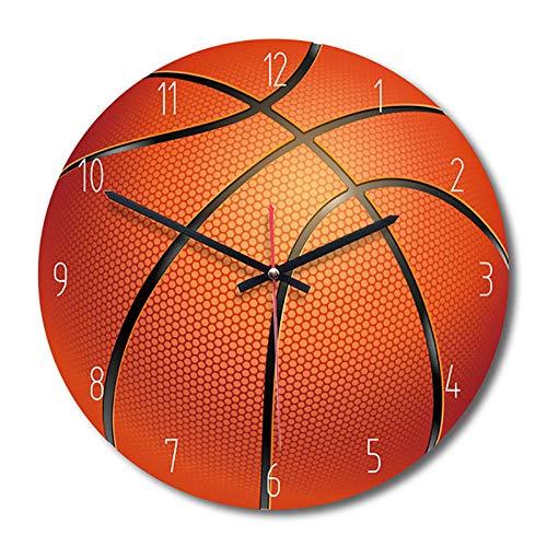 WOVELOT Reloj De Pared Decorativo para El Hogar Reloj De Pared De Madera Estilo Deportivo Reloj De Habitación De Ni?os Dormitorio Sala De Estar Baloncesto