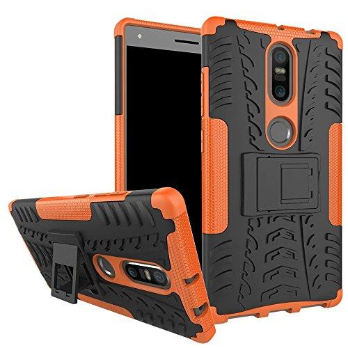 Sunrive Für Lenovo Phab 2 Plus, Hülle Tasche Schutzhülle Etui Hülle Cover Hybride Silikon Stoßfest Handyhülle Hüllen Zwei-Schichte Armor Design schlagfesten Ständer Slim Fall(Orange)
