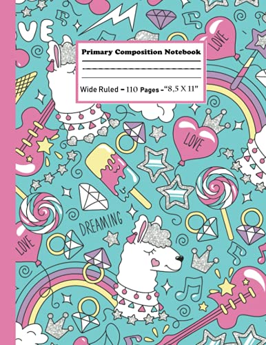 primary composition notebook k-2: grade book kindergarten journal with drawing area  cute rainbow unicorn Mermaid Pattern notebook for Back to School  primary composition notebook with picture space