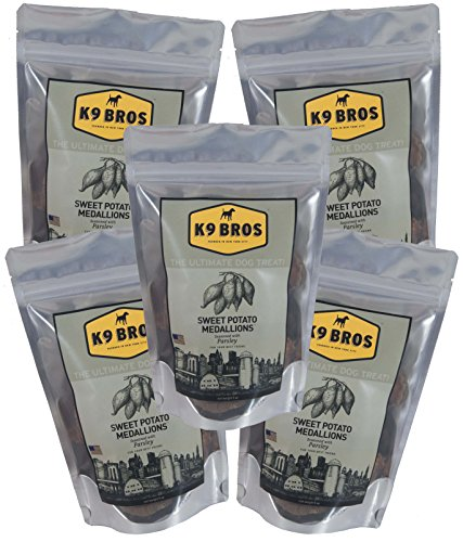 K9 Bros Sweet Potato Medallions Seasoned with Parsley - Natural Healthy Chews Cleans Teeth Freshens Breath Small Batch (5 Pack)