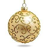 Sikora Highlights 4er Set ausgefallene Christbaumkugeln aus Glas Gold, Größe:8 cm,...