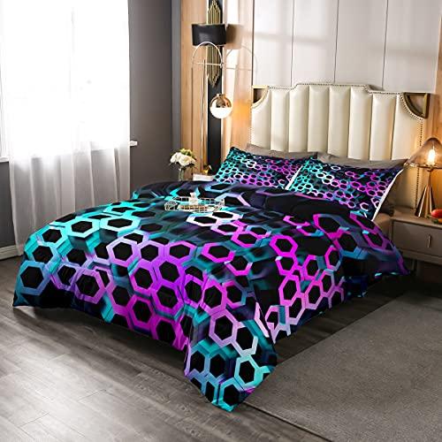 Juego de cama de nido de abeja tamaño King 3D patrón hexagonal juego de edredón 3 piezas para niños, adolescentes, adultos, arte moderno, decoración del dormitorio, suave con 2 fundas de almohada
