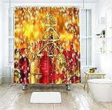Aartoil Duschvorhänge Weihnachten, Schimmelresistent, Polyester Weihnachtsdekoration Schneeflockes Sterne Kerze Stoff Duschvorhang für Badezimmer mit Haken Orange Rot, Dick 120 x 180 cm