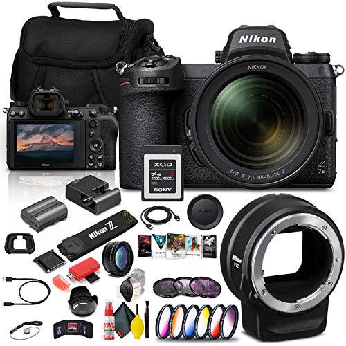 Nikon Z 7II Mirrorless Digital Camera 45.7MP with 24-70mm Lens (1656) + FTZ Mount + 64GB XQD Card + Corel Software + Case + 3 Piece Filter Kit + Color Filter Kit + More - International Model (Renewed)