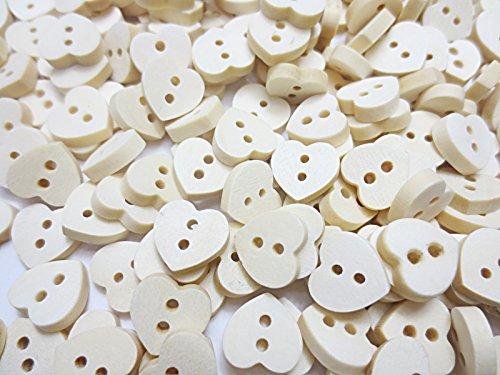 200個 ウッド ボタン 二つ穴 ハート 13mm ナチュラル木製 手芸材料のヒューイ h801
