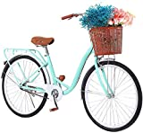 26' High-Carbon Steel Classic Retro Bicycle Beach Cruiser Bike with Anti-Skid Wear-Resistant Tires and Soft Saddle (Blue)