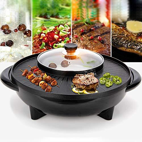 OMGPFR 42 x 17 cm / 2 In 1 Dubbele Elektrische Grill/Soeppot/Hoog koolstofstaal Bbq Grill Bakplaat/Elektrische Bakpannen/Roosteren Oven Bakwaren