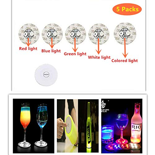 The Best 5 Packs LED Bar Coaster,LED Stickers,Light Up Bar Coasters For Drinks,Cup Holder Lights For Wine Liquor Bottle,Perfect For Party,Wedding,Bar