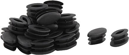 sourcingmap® Arredamento sedia tavolo ovale in plastica tubo Design inserire cappuccio nero da 15 x 30mm 30 PZ