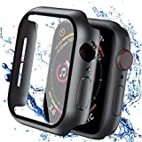 Smiling Case with Tempered Glass Screen Protector Compatible with Apple Watch Series 6/SE/Series 5/4 40mm, Waterproof Hard PC Case Ultra-Thin Anti-Fog Overall Waterproof Protective Cover-Black