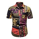 Hawaii Camisa Hombre Verano Kent Collar Slim Fit Hombre Playa Camisa Personalidad Estampado Botón Placket Manga Corta Casual Camisa Cómodo Vacaciones Hombre Deportiva Camisa F-Multicolor 6 S