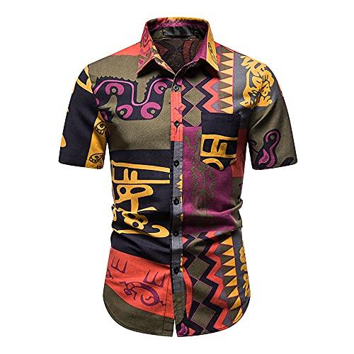 Hawaii Camisa Hombre Verano Kent Collar Slim Fit Hombre Playa Camisa Personalidad Estampado Botón Placket Manga Corta Casual Camisa Cómodo Vacaciones Hombre Deportiva Camisa F-Multicolor 6 M