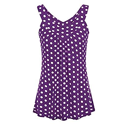 YOCheerful Ladies Halter Vest V-Neck Sleeveless Polka Dot Printed Blouse Casual Tank Tops Loose Camisoles(Purple, 5XL) by
