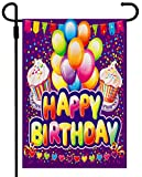 Happy Birthday Garden Flag Yard Signs, Burlap Vertical Double Sided Readable Lawn Signs Birthday Yard Decorations for Lawn Outside Outdoor Flags 12.5 X 18 Prime Party Celebration Birthday Banner