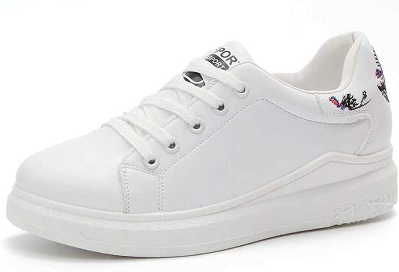 Wallhewb Women Wedges White Casual shoes Girls Lace Up Fashion Platform Trainers Vulcanized White Sneakers Leg Length Fashion Girl Girl Leg Length Reasing Elegant White 8 M US shoes