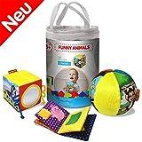 MACIK Animaux Drôles - Boule + cube + livre souple - Ensemble cadeau pour bébé -Peluches -Développement jouets 6-12 moiss - Jouet D'Activité pour Bébé - Jouets pour les tout - Petits Jouets sensoriels