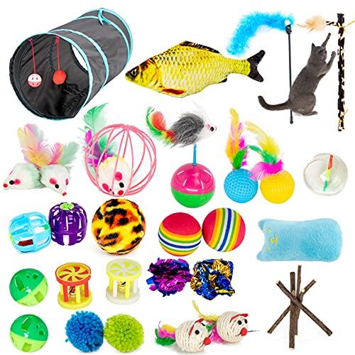 GPR 32 Stück Katzenspielzeug Set mit katzentunnel, Bälle, Federspielzeug, Kätzchen Maus Spielzeug, Plüschspielzeug, Feder Teaser, Spielzeug für Katzen Kitty Variety Pack