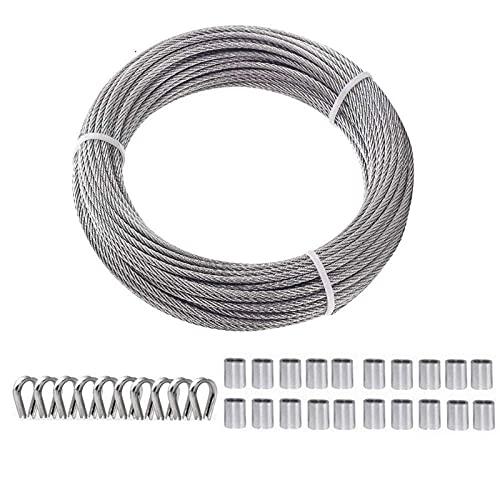 TooTaci Cuerda de alambre de acero 1/8 100 pies/alambre de metal resistente para barandas, terrazas, barandillas de bricolaje – acero inoxidable T316, 7 x 7 filamentos