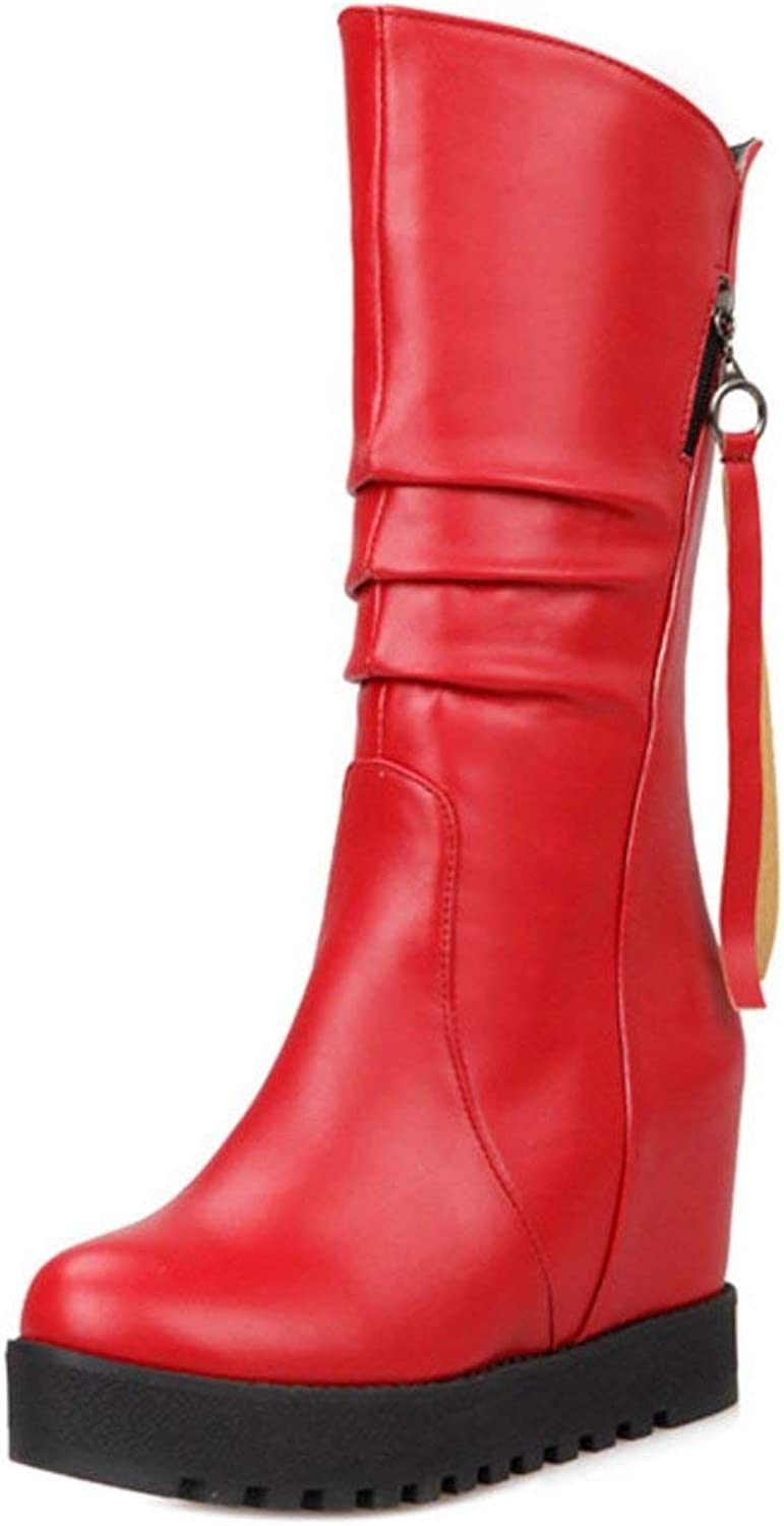 Unm Women Classical Autumn Winter Wedges High Heel shoes Mid High Boots