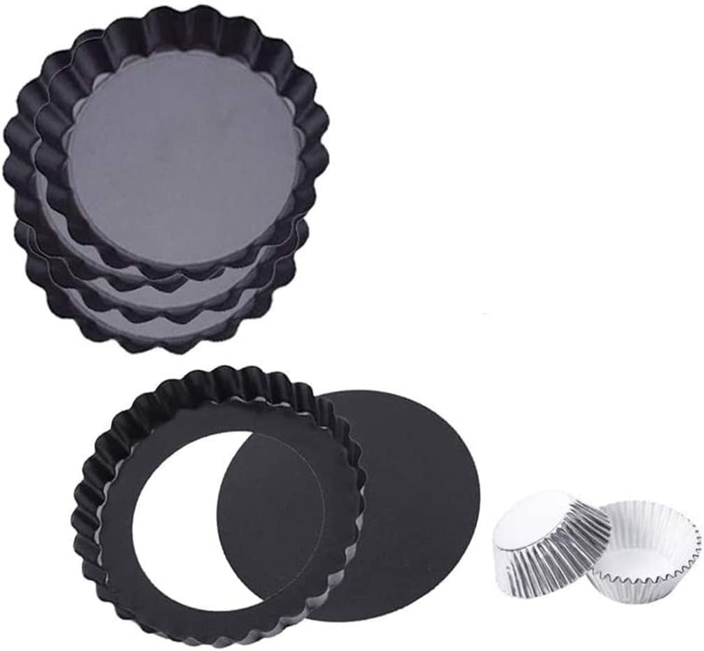 """4.7"""" Miami Mall Inch Mini Tart Pans With Stick Bottom Removable Ca New life Non"""