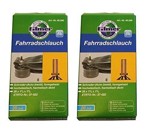 Filmer 2 x Fahrradschlauch 28 x 1 3/8 x 1 5/8 Schrader-(Auto-) ventil, 37-622