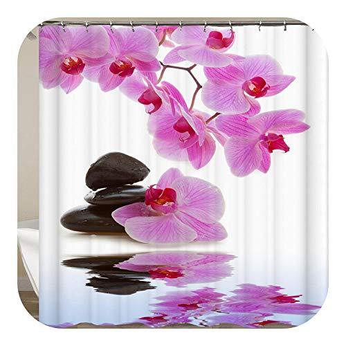 Fairy-Margot Zen Shower Curtain Home Decor 3D Bath Curtains with Hooks Green Bamboos Bathroom Zen Garden Buddha Curtain for Bathroom Or Mat-cx363-Only 40x60cm Mat