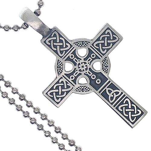 Medieval Renaissance Jewelry Celtic Solar Sun Wheel Cross Pagan Viking Norse Pewter Unisex Men's Pendant Necklace Protection Amulet Wealth Money Lucky Charm Safe Travel Talisman w Silver Ball Chain