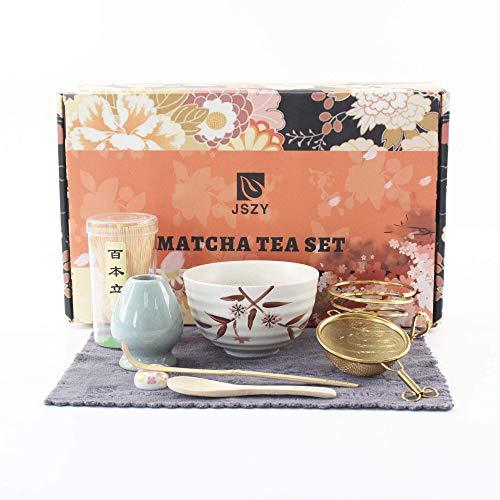 JSZY Matcha Tea Set Kit Complete Japanese Whisk Chasen,Bamboo Whisk,Pottery Bowl,Bamboo Scoop,Ceramic Holder,Stainless Sifter,Traditional Handmade Ceremony Matcha Set Gift Box for Starter(9PCS)(WHITE)