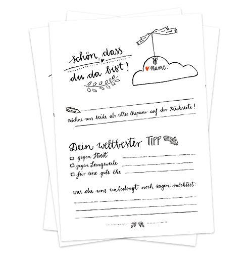 Hochzeitsspiel für Gäste - 52 Postkarten, Schön, dass du da bist, Spiel für die Hochzeit mit witzigen Fragen & zum Zeichnen, Recyclingpapier Partykarten & Postkartengruß, Schwarz Weiß Design