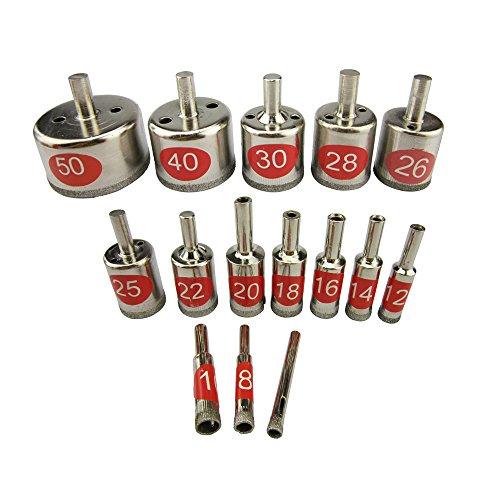 Paor 15piezas de herramienta de diamante broca de corona para cristal, cerámica, mármol de 6–50mm de diámetro