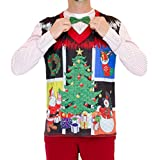 Faux Real Men's 3D Photo-Realistic Ugly Christmas Sweater Long Sleeve T-Shirt, Noel Vest Bow Tie, X-Large