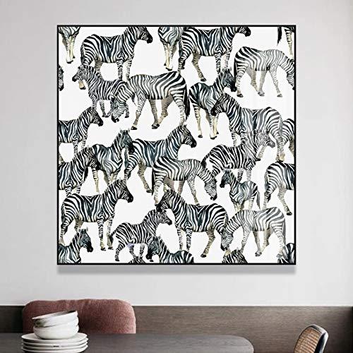 N/A Cuadros Decorativos Animales Salvajes cebras Pinturas en Lienzo Carteles e Impresiones Cuadro de Arte de Pared para Sala de Estar Dormitorio hogar Decorativo sin marco-60x60cm
