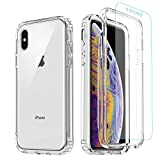 iPhone Xs Case,iPhone X Clear Case,[Tempered Glass Screen Protector] Misscase Full Body Protective Shockproof Hard Plastic & Soft TPU Case for iPhone X (5.8 inch) Clear