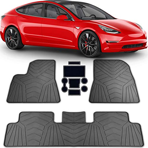 PBC Products Tesla Model 3 All Weather Floor Mats 2017 2018 2019 with Cup Holder Mats Weatherproof Front and Rear Heavy Duty Latex Mat Set Car Accessories