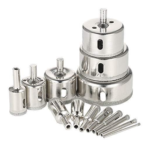 CMM-D 14PCS sierra de perforación de diamante recubierto 3-70mm Core agujero consideró Broca Set Herramientas for baldosas de mármol de cristal Herramientas de perforación de energía Porcelana