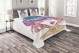 ABAKUHAUS Tätowieren Tagesdecke Set, Inked Frauen-Weinlese Haarknoten, Set mit Kissenbezügen Sommerdecke, für Doppelbetten 220 x 220 cm, Mehrfarbig