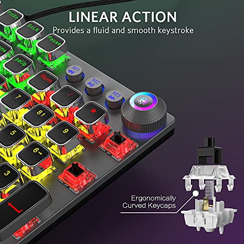 FIODIO Mechanical Gaming Keyboard, LED Rainbow Gaming Backlit, 104 Anti-ghosting Keys, Quick-Response Black Switches, Multimedia Control for PC and Desktop Computer, with Removable Hand Rest