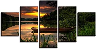 QQYYYT Modular Canvas Picture HD Print 5 Pieces Boat Lake Mountain Nature Sunset Landscape Poster Painting Wall Art Decora...