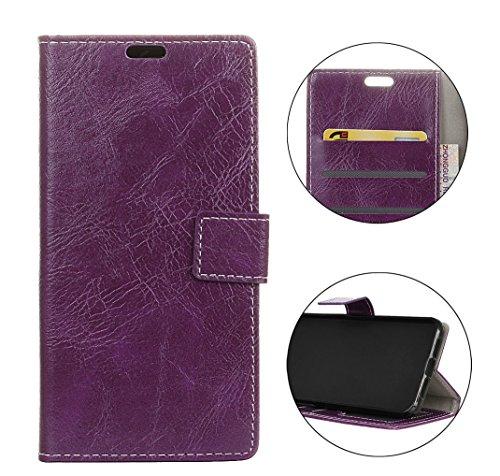 Sunrive Hülle Für Wiko Tommy 3, Magnetisch Schaltfläche Ledertasche Schutzhülle Hülle Handyhülle Schalen Handy Tasche Lederhülle(Crazy-Pferd lila)+Gratis Universal Eingabestift