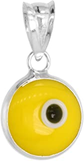 Sterling Silver Evil Eye Pendant 10 MM Glass Eyes Available in All Colors