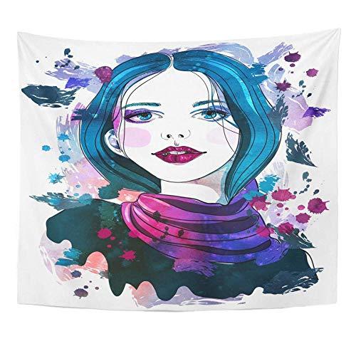 Retrato artístico de una hermosa niña con cabello azul en acuarela abstracta para tapiz de belleza blanca decoración del hogar colgante de pared 150x200cm/59x79inchch