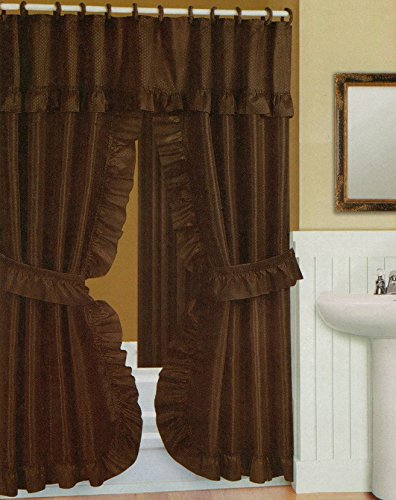 Better Home Double Swag Shower Curtain, Liner & Rings, Chocolate Brown, 70x72 Inches