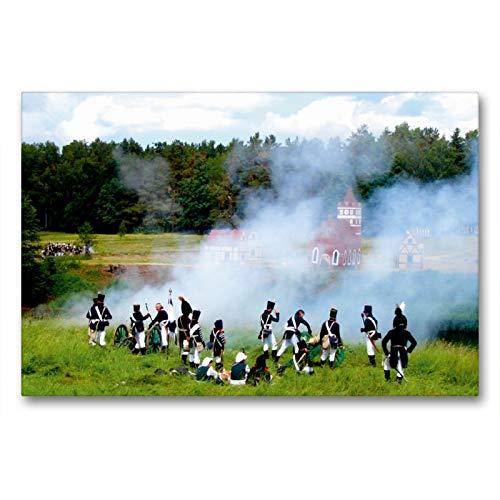 Premium - Lienzo de 90 cm x 60 cm horizontal, vapor en polvo en el campo original de la batalla de 1807 – Un diseño del calendario